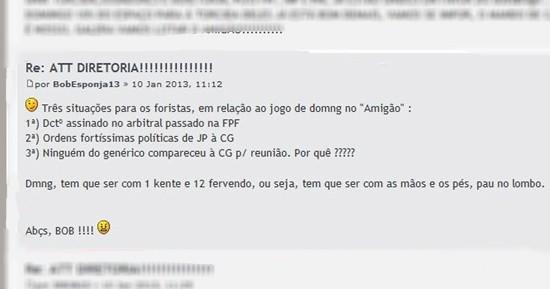 Radialista incentiva violência e defende 'pau no lombo' da torcida do Botafogo-PB